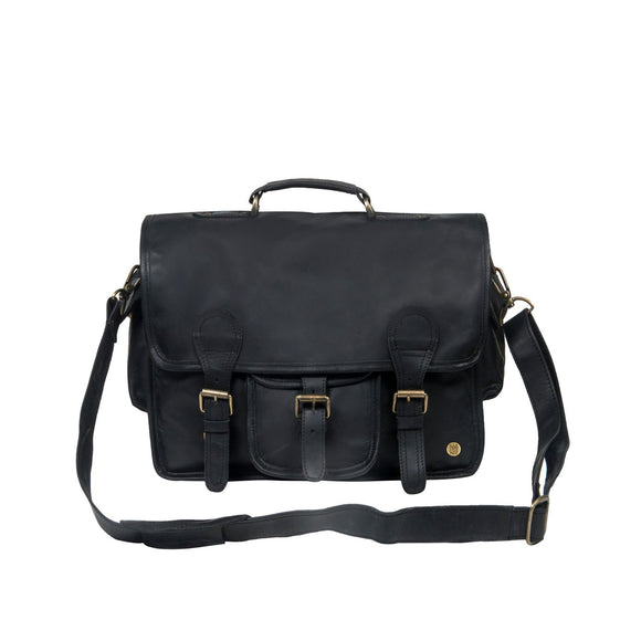 Black Leather Dunstan Messenger Bag