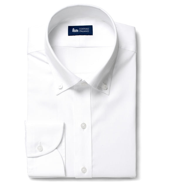 White Cotton Broadcloth Newham Business Shirt