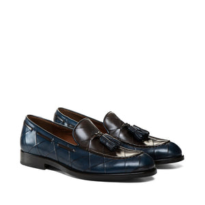 Goodyear Welted Vouzela Navy Blue Quilted Leather Loafer With Violin Leather Sole