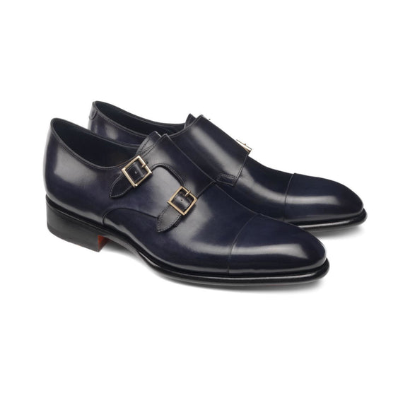 Height Increasing Navy Blue Leather Castle Monk Straps