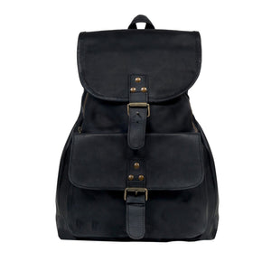 Black Leather MacKillop Backpack Bag