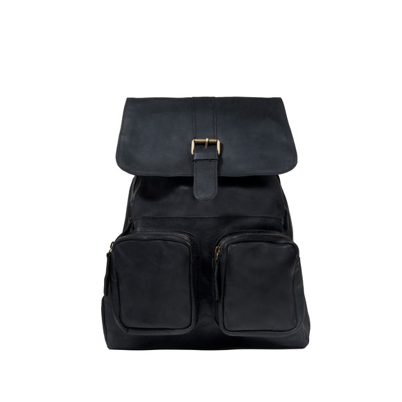 Black Leather Mawson Backpack Bag