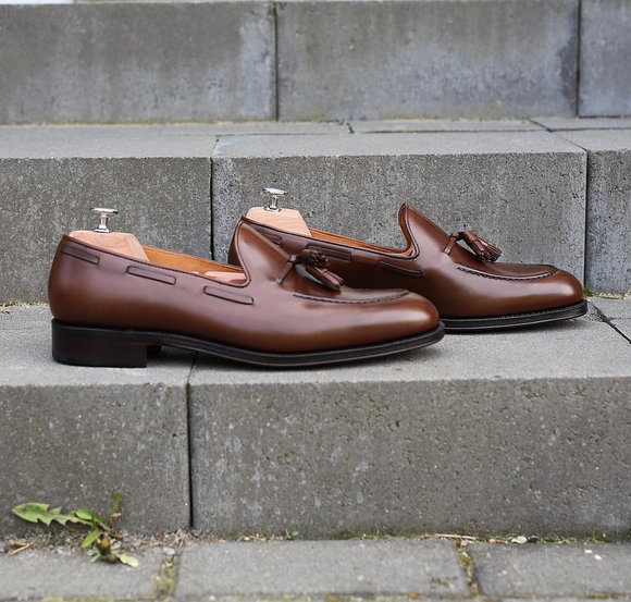 Brown Leather Martos Tassel Loafers
