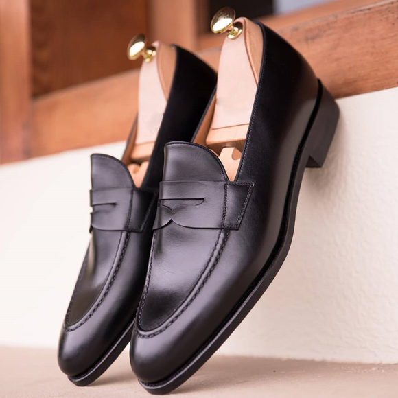 Black Leather Malaga Penny Loafers