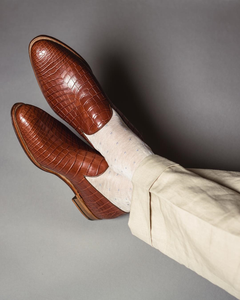 Tan Croc Print Leather Carmona Loafers