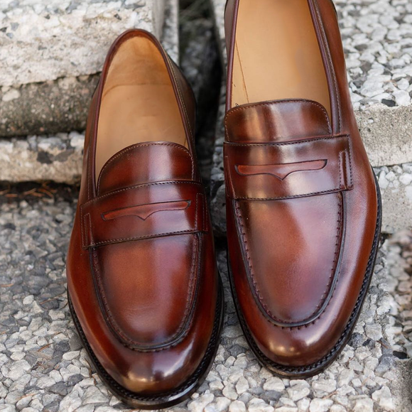 Brown Leather Luarca Penny Loafers