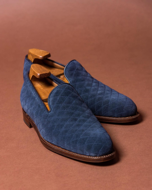 Navy Blue Quilted Suede Mieres Loafers
