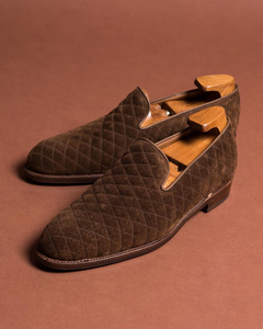 Brown Woven Suede Mieres Loafers