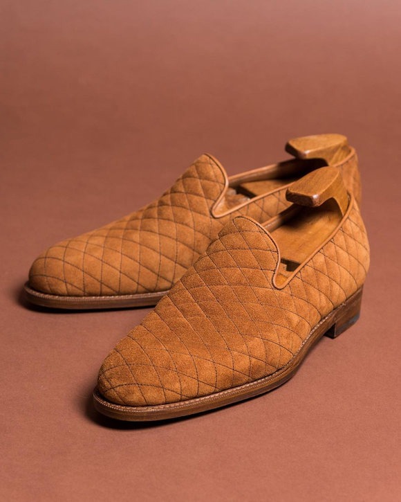 Tan Quilted Suede Mieres Loafers