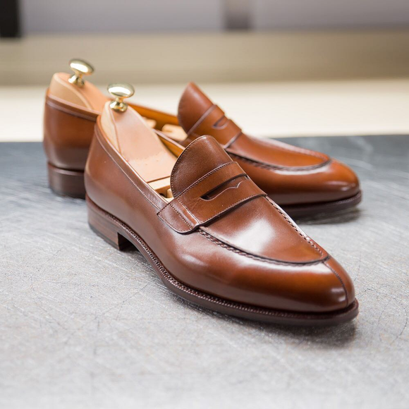 Tan Leather Mieres Penny Loafers