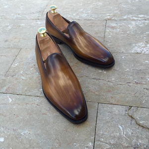 Brown Leather Oviedo Loafers