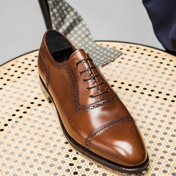 Tan Leather Coimbra Brogue Toe Cap Oxfords