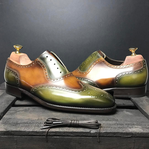 Olive Green and Tan Leather Estoril Brogue Toe Cap Oxfords