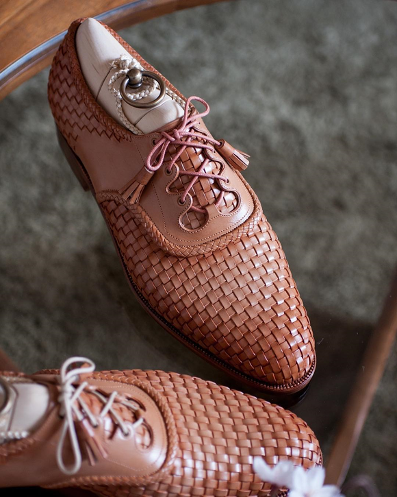 Tan Braided Leather Evora Brogue Oxfords