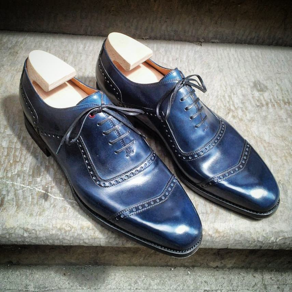 Navy Blue Leather Lagos Brogue Toe Cap Oxfords