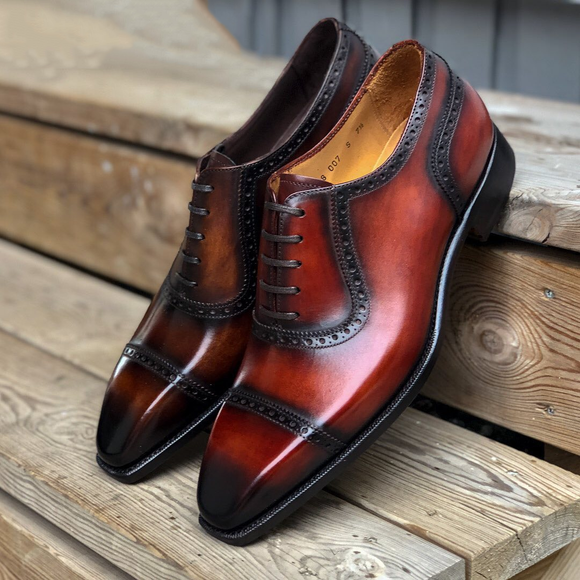 Brown Burgundy Leather Luso Brogue Toecap Oxfords
