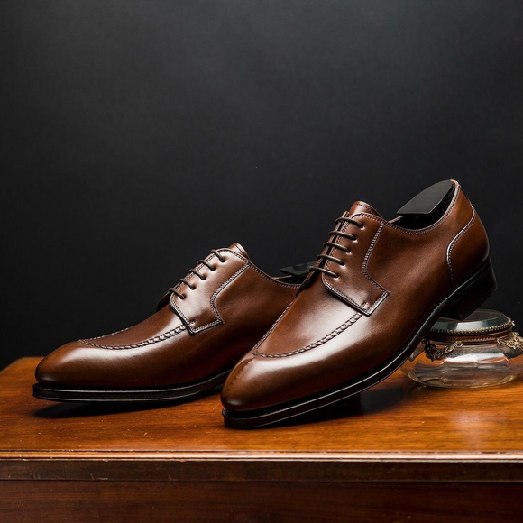 Brown Leather Monsaraz Derby Shoes