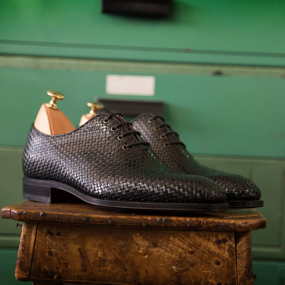 Black Braided Leather Toecap Nazare Oxfords
