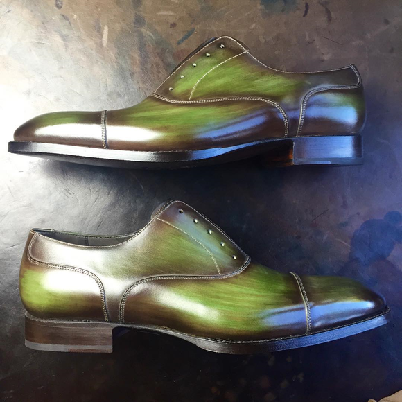Green Leather Sines Toecap Oxfords