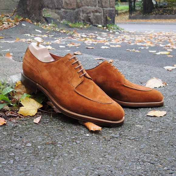 Tan Suede Castelo Derby Shoes