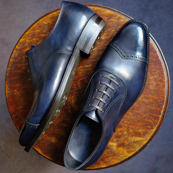 Navy Blue Leather Alcacer Brogue Toecap Oxfords
