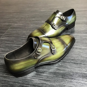 Green Leather Alvor Monk Straps