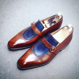 Brown and Navy Blue Leather Alvor Monk Straps