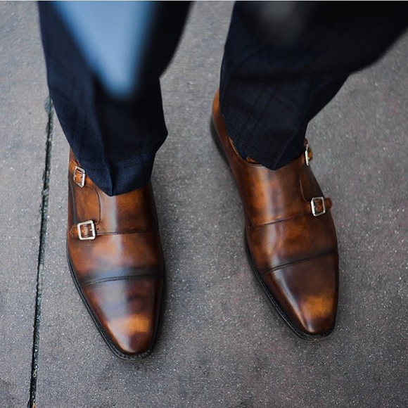 Brown Leather Azores Monk Straps