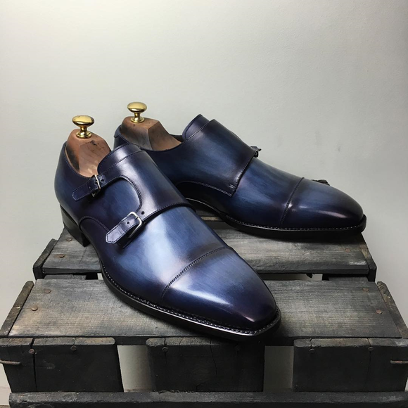 Navy Blue Leather Barcelos Monk Straps