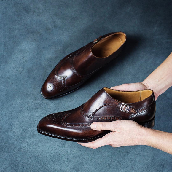Brown Leather Barcelos Monk Straps