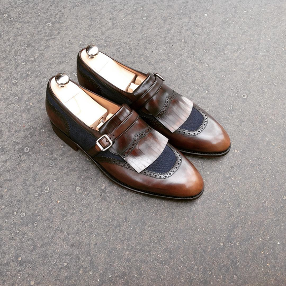 Brown Leather and Navy Blue Suede Chaves Monk Straps