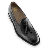 Height Increasing Black Leather Stanley Tassel Loafers