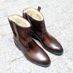 Brown Leather Bilbao Shearling Lined Slip On Boots