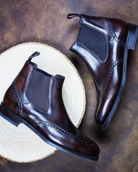Brown Leather Arucas Chelsea Brogue Boots