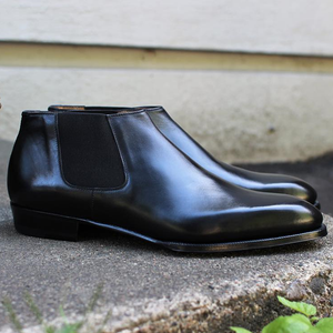 Black Leather Telde Chelsea Boots