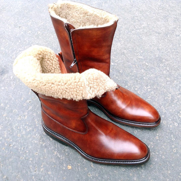 Tan Leather Bilbao Shearling Lined Slip On Boots