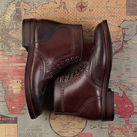 Brown Leather Cuenca Brogue Derby Boots