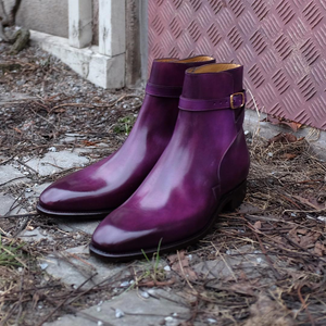 Purple Leather Toledo Jodhpur Boots