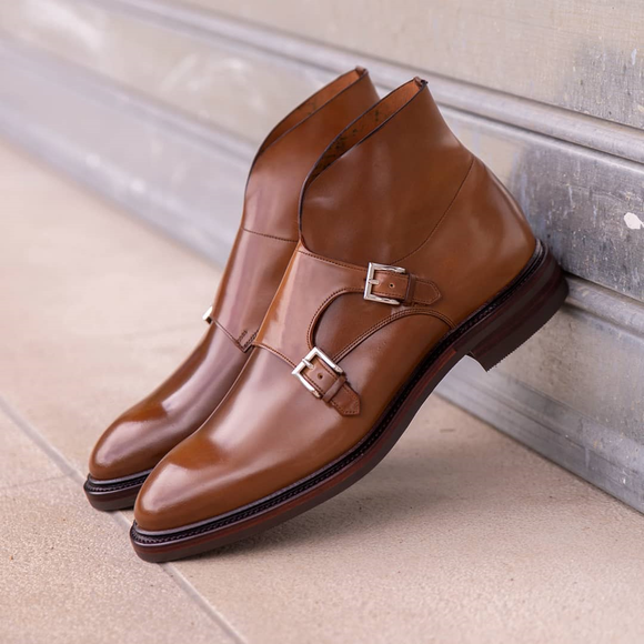 Tan Leather Burgos Monk Strap Boots