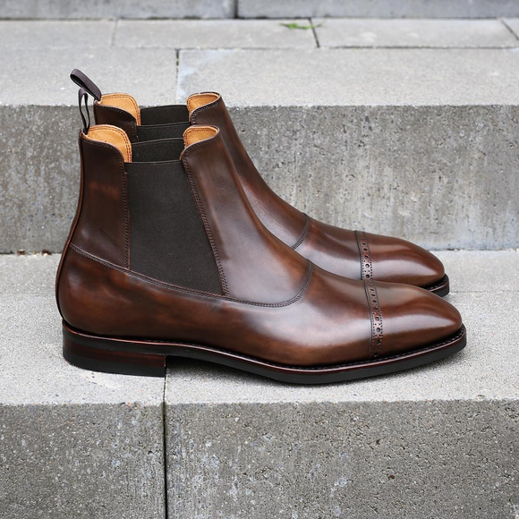 Brown Leather Astorga Brogue Toecap Chelsea Boots