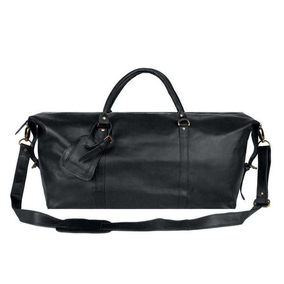 Black Leather Port Adelaide Duffel Bag