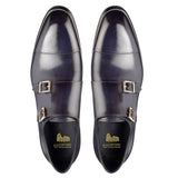 Navy Blue Leather Castle Monk Straps