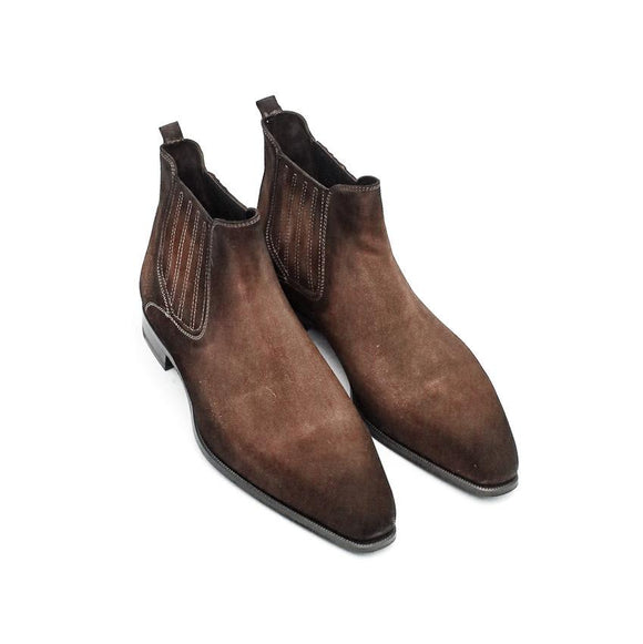 Flat Feet Shoes - Goodyear Welted Cadaval Brown Suede Chelsea Boot with Violin Leather Sole with Arch Support