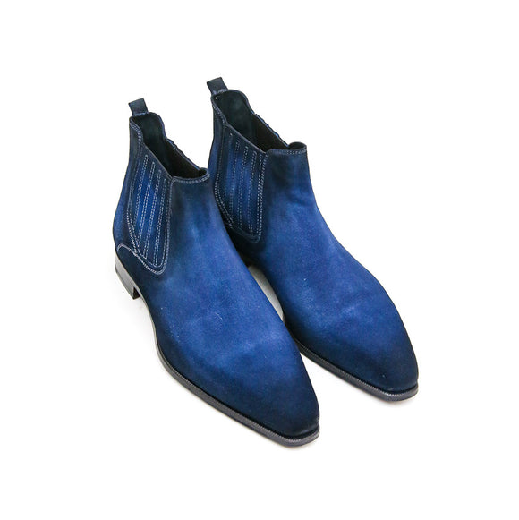 Goodyear Welted Cadaval Bright Blue Suede Chelsea Boot with Violin Leather Sole