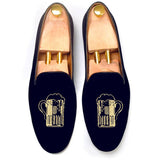 Flat Feet Shoes - Blue Velvet Beer Embroidered Loafers with Arch Support