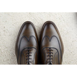 Height Increasing Olive Green Leather Gedling Brogue Oxfords