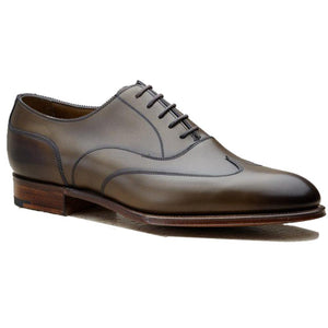 Flat Feet Shoes - Olive Green Leather Gedling Brogue Oxfords with Arch Support