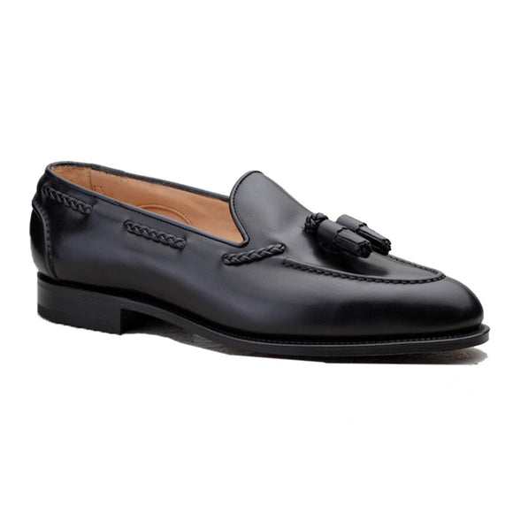 Black Leather Swale Tassel Loafers