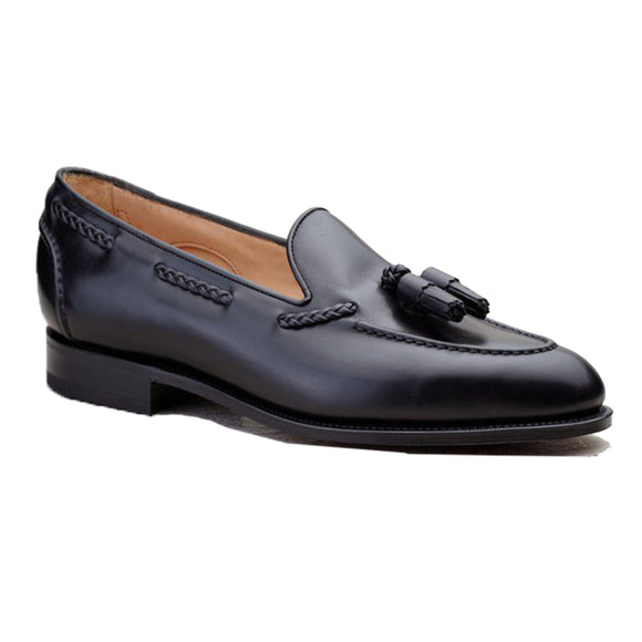 Height Increasing Black Leather Swale Tassel Loafers