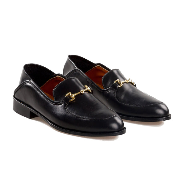 Flat Feet Shoes - Black Leather Penela Horsebit Collapsible Loafer Slippers with Arch Support